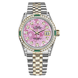 Rolex Datejust Steel/18K Gold Pink Flower Diamond Emerald Jubilee Womens 26mm Watch