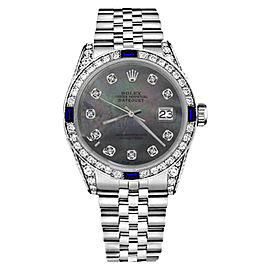Rolex Datejust Stainless Steel Black Mother Of Pearl Dial With Sapphire & Diamond Bezel 31mm Womens Watch