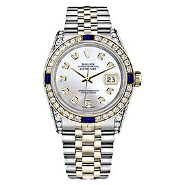 Rolex Datejust Two Tone White Mother Of Pearl Dial With Sapphire & Diamond Bezel 31mm Womens Watch