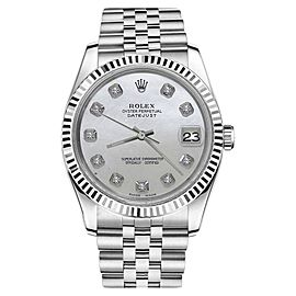 Rolex Datejust White Mother Of Pearl Dial with Diamond Womens 26mm Watch