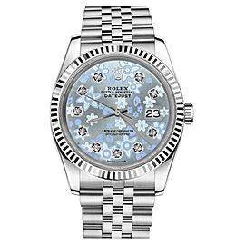 Rolex Datejust 18K White Gold Ice Blue Flower Face Diamond Stainless Steel Jubilee Womens 26mm Watch