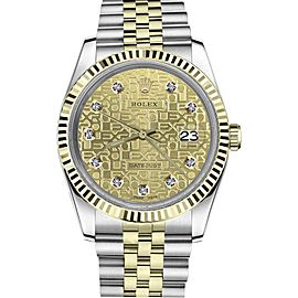 Rolex Metal Logo Datejust Stainless Steel/ 18K Gold Diamond Champagne Jubilee 26mm Womens Watch