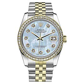 Rolex Datejust Stainless Steel/ 18K Gold Baby Blue Mother Of Pearl Dial w Diamonds 36mm Unisex Watch