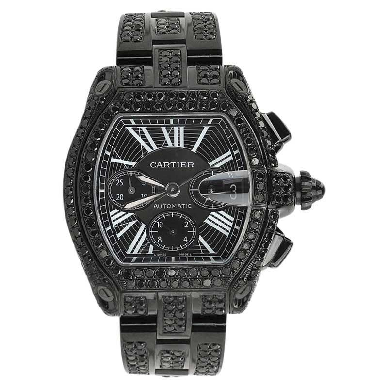 "Image of ""Cartier Roadster W62020X6 Black Diamond Dial Stainless Steel 42.8mm"""