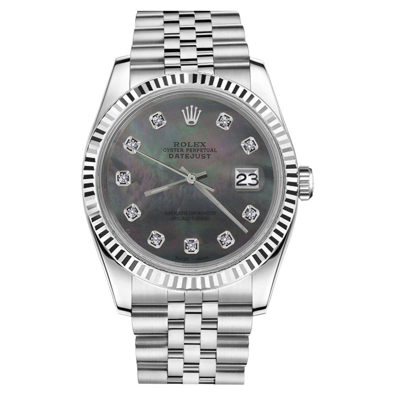 """Image of """"Rolex Datejust Stainless Steel w/ Black Mother Of Pearl Diamond"""""""