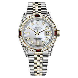 Rolex Datejust Two-Tone Stainless Steel/ 18K Gold White Mother Of Pearl 8+2 Dial Ruby Diamond Jubilee 26mm Womens Watch