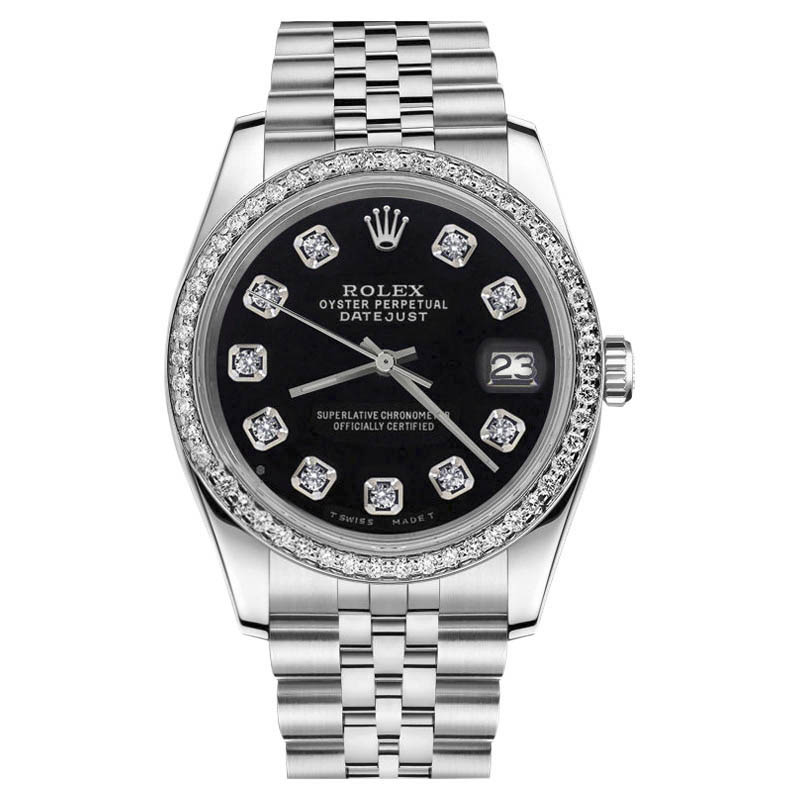 """Image of """"Rolex Datejust Stainless Steel Black Diamond Dial Classic Jubilee 36mm"""""""