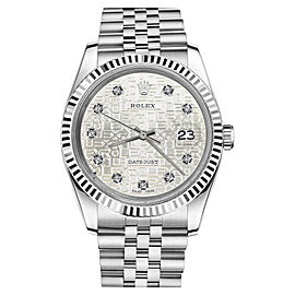 Rolex Datejust Stainless Steel Diamond Dial Silver Jubilee Metal Plate 26mm Womens Watch