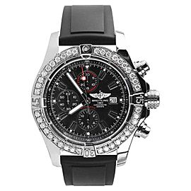 Breitling Super Avenger A13370 Chronograph Stainless Steel & Rubber Black Dial Diamond 48mm Mens Watch