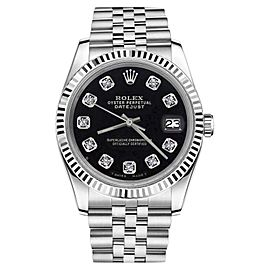 Rolex Datejust Stainless Steel with Diamond Numbers Jubilee Black 26mm Womens Watch