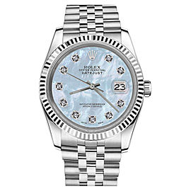 Rolex Datejust White Gold Stainless Steel Baby Blue MOP Mother Of Pearl Diamond 26mm Womens Watch