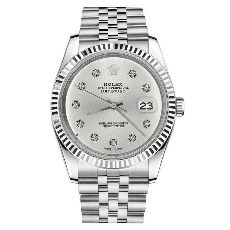 "Image of ""Rolex Datejust Stainless Steel With Silver Color 10 Round Diamond Dial"""