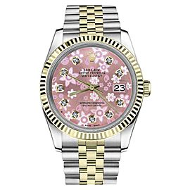 Rolex Datejust 18K Yellow Gold & Stainless Steel With Pink Flower Dial 26mm Womens Watch