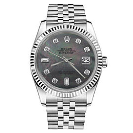 Rolex Datejust Stainless Steel With Black Pearl 8+2 Diamond Dial 26mm Womens Watch