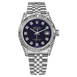 Rolex Datejust Stainless Steel Purple Color Dial Diamond Accent 36mm Unisex Watch