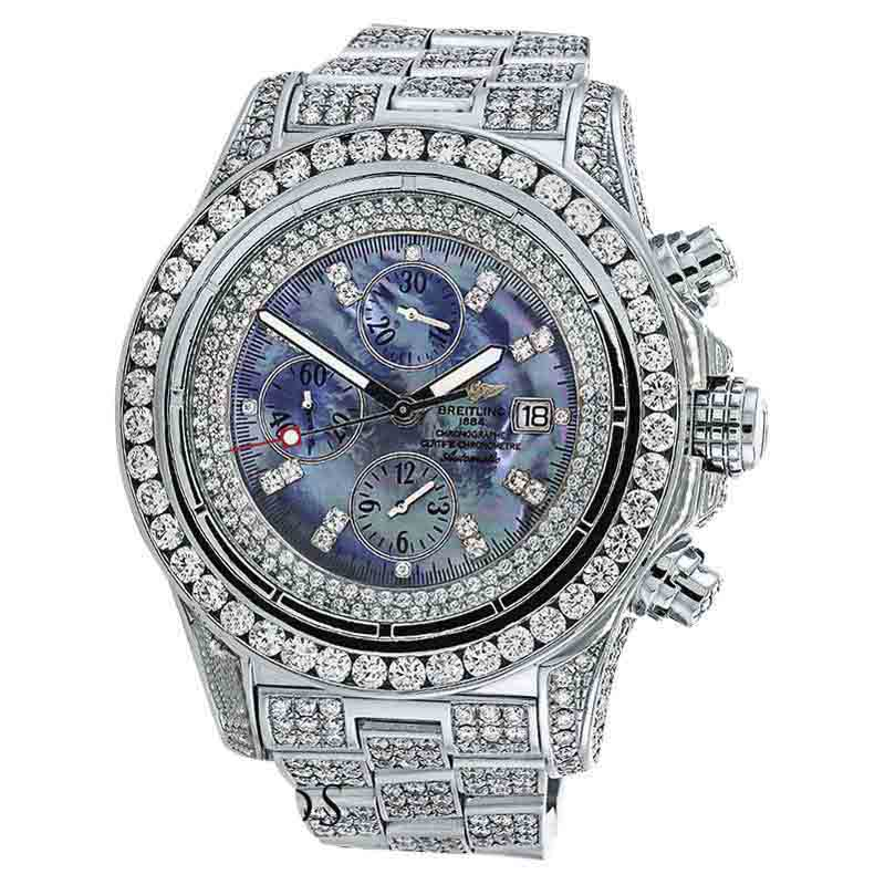 "Image of ""Breitling Super Avenger A13370 Stainless Steel Mother of Pearl Dial"""