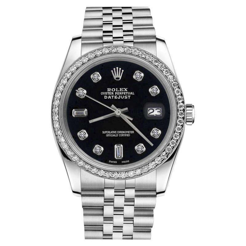 """Image of """"Rolex Datejust Stainless Steel Black Color Dial 8+2 Diamond Accent"""""""