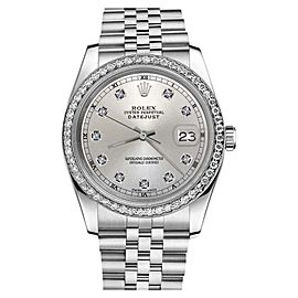 Rolex Datejust Stainless Steel Silver Color Dial With Diamond Accent 31mm Womens Watch