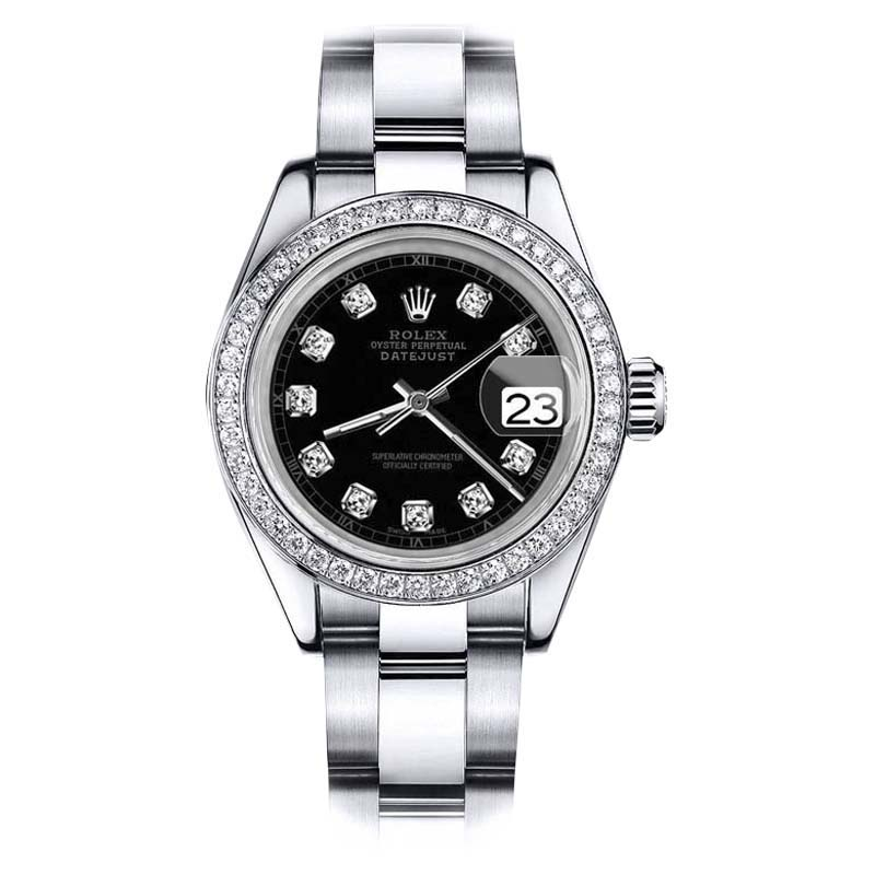 """Image of """"Rolex Datejust Oyster Stainless Steel Black Color Dial Diamond Accent"""""""
