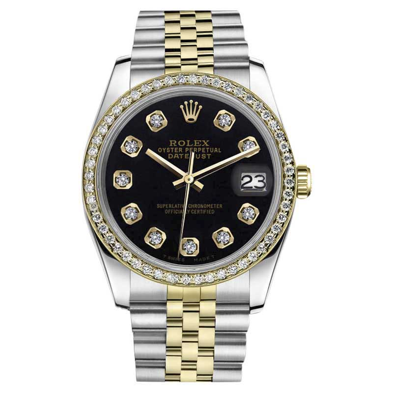 """Image of """"Rolex Datejust 2-T Classic Black 18K Yellow Gold & Stainless Steel"""""""