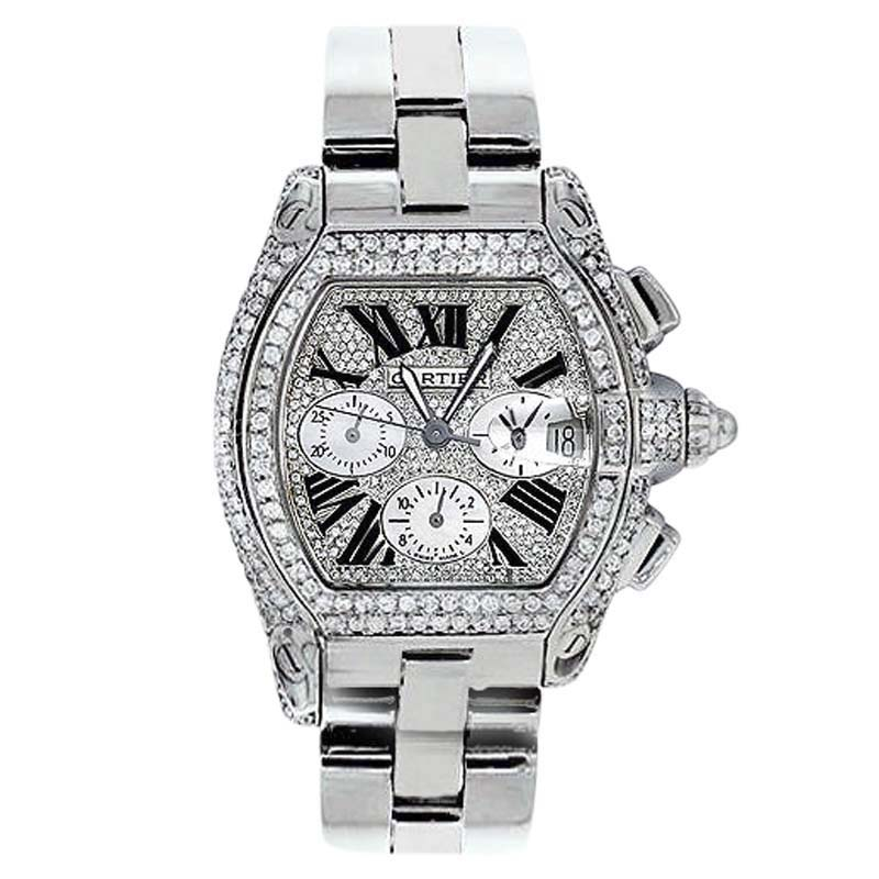 """Image of """"Cartier Roadster W62020X6 Chronograph Stainless Steel Diamonds Dial"""""""