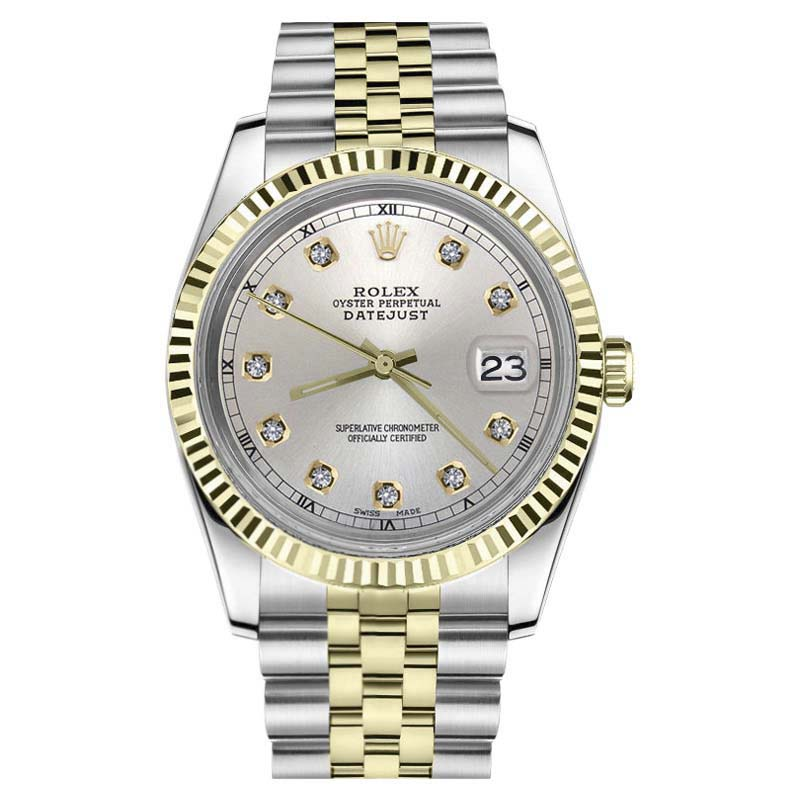 "Image of ""Rolex Datejust Stainless Steel/ 18K Gold Silver Diamond Face 36mm"""