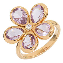 Tiffany & Co. 18K Rose Gold 0.01 Ct Diamond and 0.05 Ct Amethyst Flower Ring Size 5