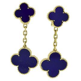 Van Cleef & Arpels 18K Yellow Gold Lapis Lazuli Magic Alhambra 2 Motif Drop Earrings