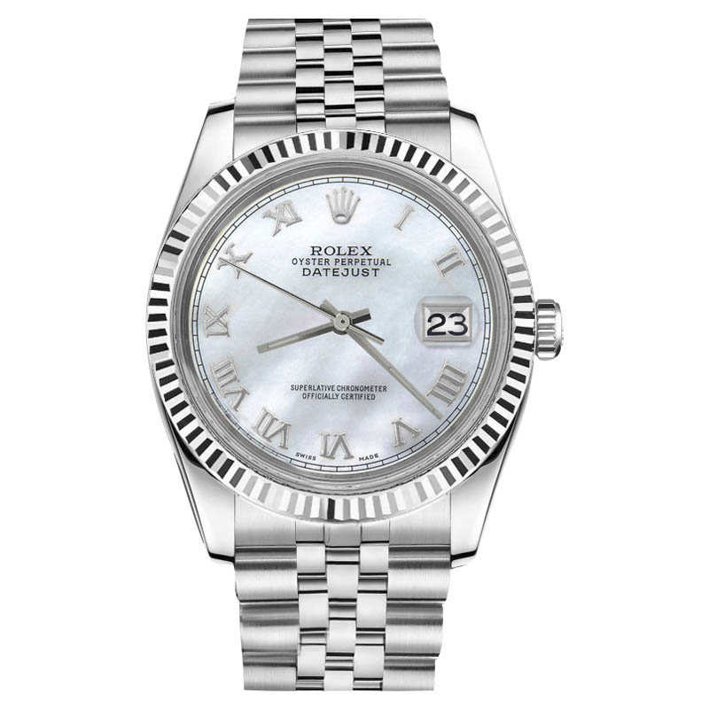 """Image of """"Rolex Datejust Stainless Steel White MOP Mother Of Pearl Roman Numeral"""""""
