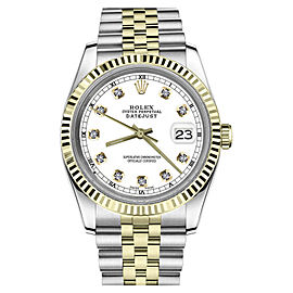 Rolex Datejust 2Tone18K Yellow Gold & Stainless Steel White Dial Automatic 26mm Womens Watch