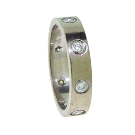 Cartier Love White Gold Diamonds Band Ring 5.25