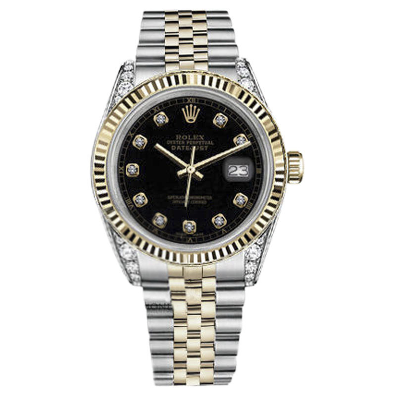 """Image of """"Rolex 16013 Datejust 18K Yellow Gold & Stainless Steel Black Diamond"""""""