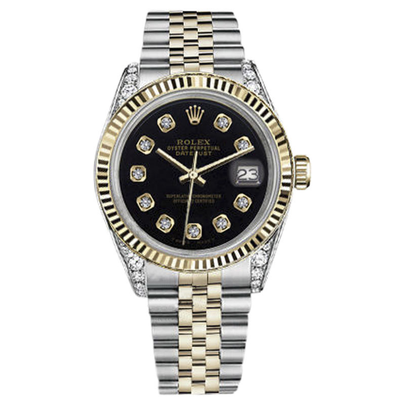 "Image of ""Rolex Datejust Stainless Steel/ 18K Gold Black Color Dial with"""