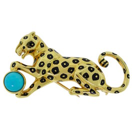 Cartier 18K Yellow Gold Panther Turquoise and Black Enamel Pin