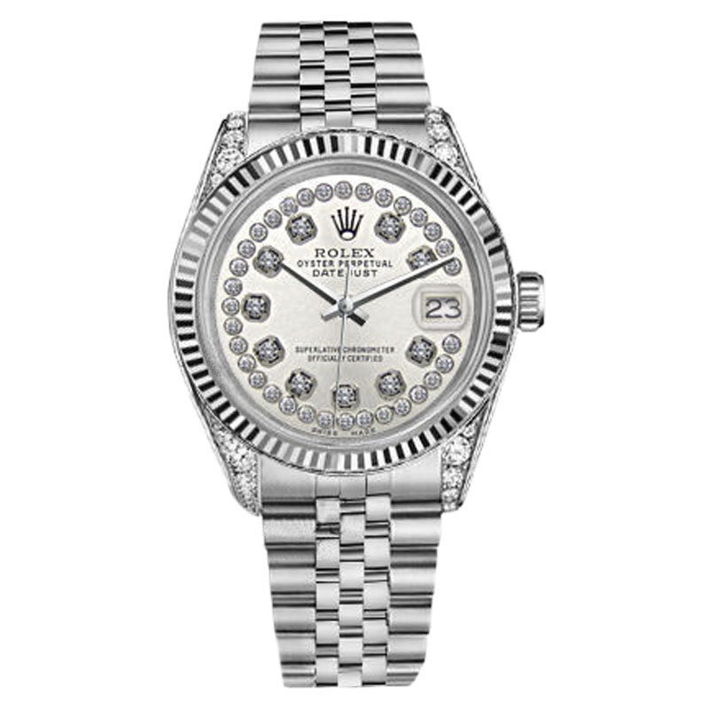 "Image of ""Rolex Datejust Stainless Steel Silver String Diamond Accent Dial 26mm"""