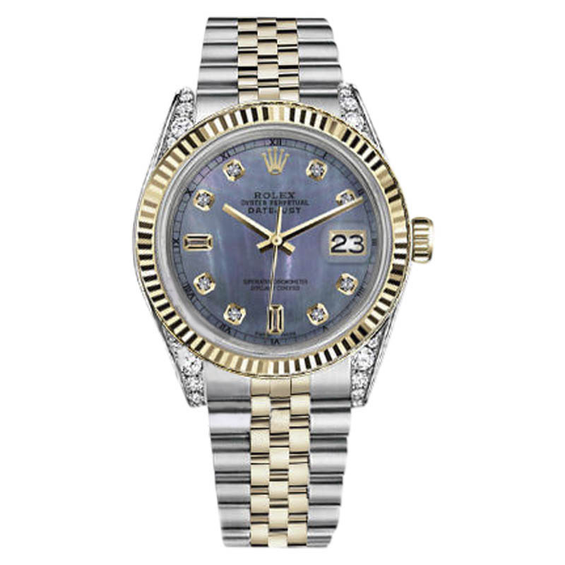 """Image of """"Rolex Datejust Stainless Steel/ 18K Gold Tahitian Pearl 8+2 Diamond"""""""