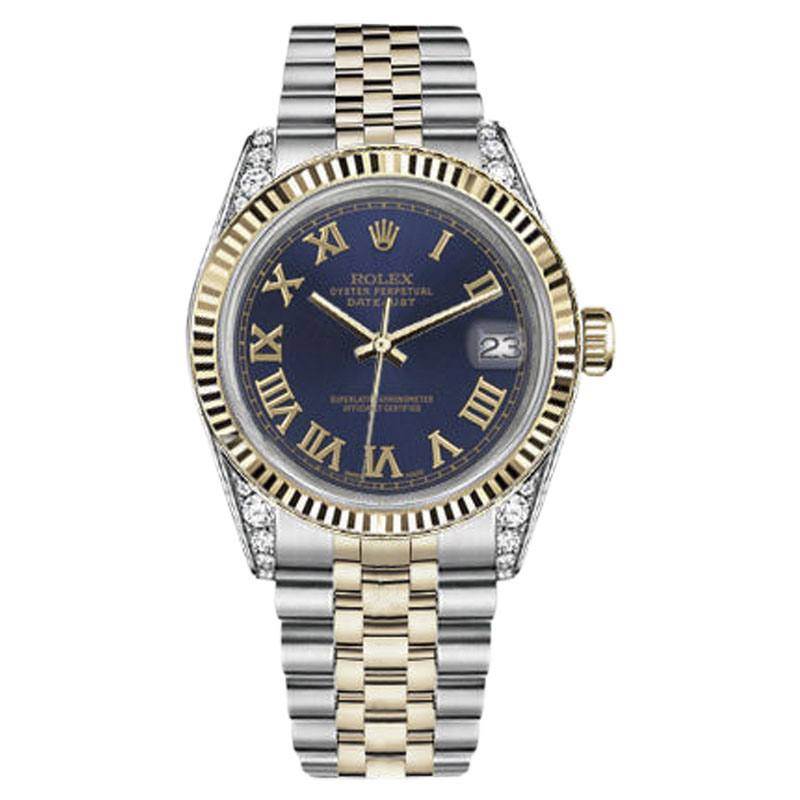 """Image of """"Rolex Datejust Stainless Steel/ 18K Gold Navy Blue Gold Roman w"""""""