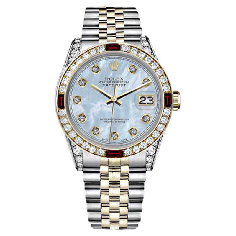 """Image of """"Rolex Datejust Stainless Steel/ 18K Gold Baby Blue Dial with Ruby &"""""""