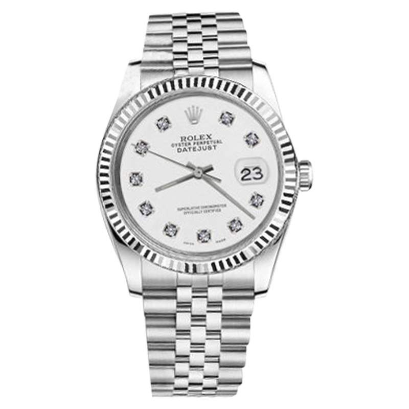 "Image of ""Rolex Datejust Stainless Steel White Diamond Classic 31mm Womens Watch"""