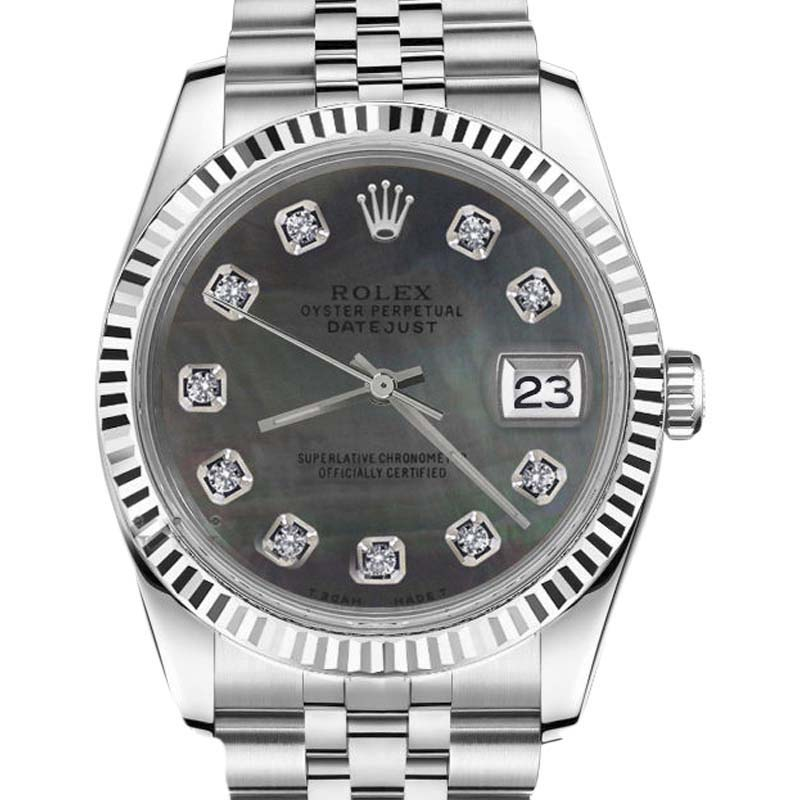 """Image of """"Rolex Datejust 18K Gold/Stainless Steel Black Mother Of Pearl w/"""""""