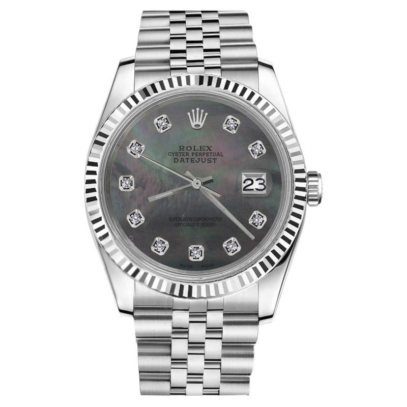 "Image of ""Rolex Datejust Stainless Steel Black Mother Of Pearl Diamond 31mm"""
