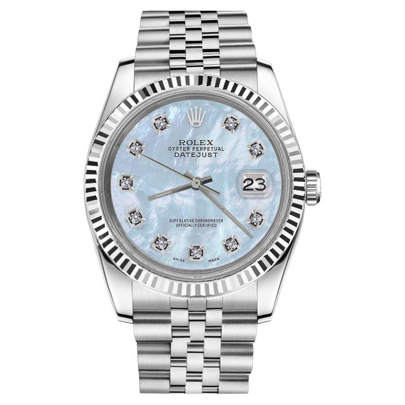 """Image of """"Rolex Datejust Stainless Steel White Gold Baby Blue MOP Mother Of"""""""