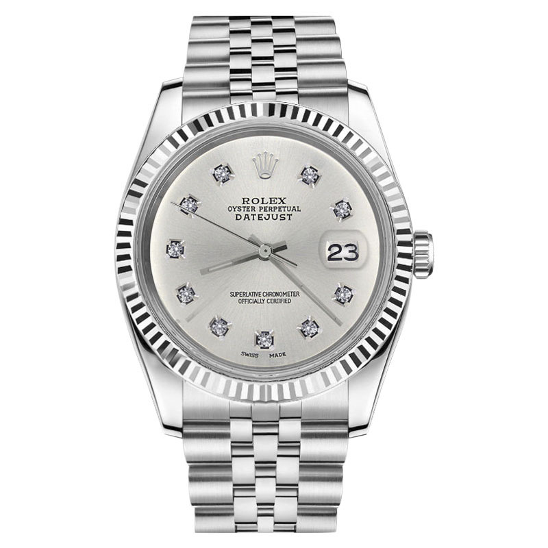 "Image of ""Rolex Datejust Stainless Steel Silver Dial w 10 Round Diamond Numbers"""