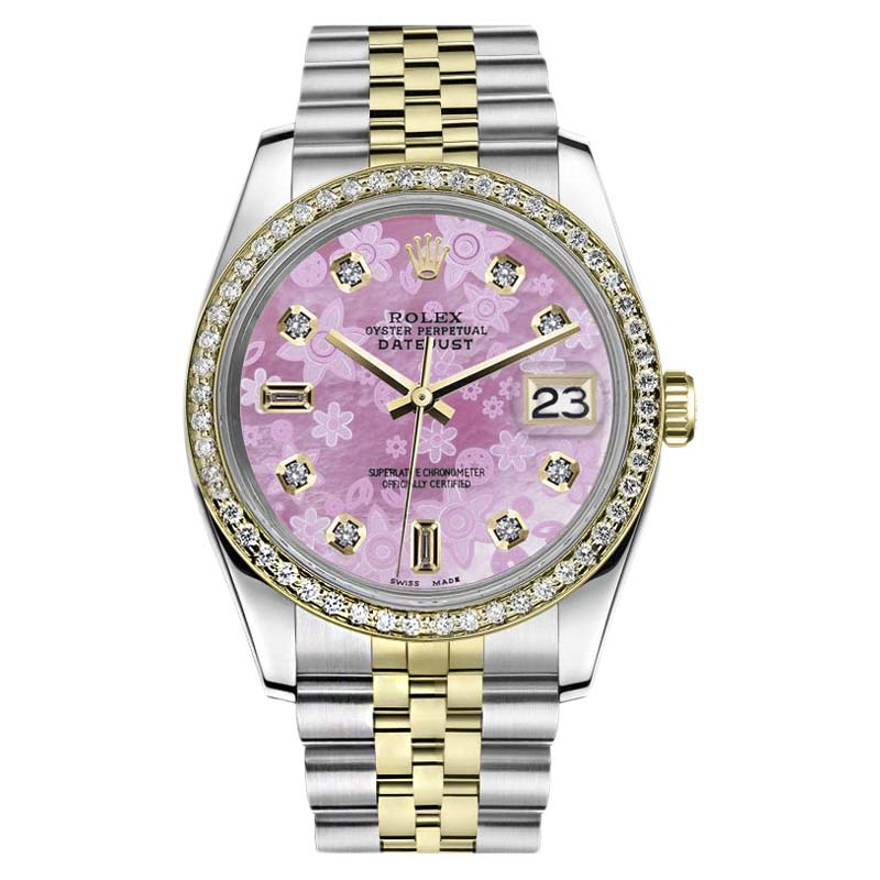 "Image of ""Rolex Datejust Stainless Steel & 18K Yellow Gold Pink Flower Mother of"""
