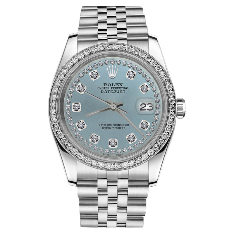"""Image of """"Rolex Datejust Stainless Steel Ice Blue String Diamond Dial 31mm"""""""
