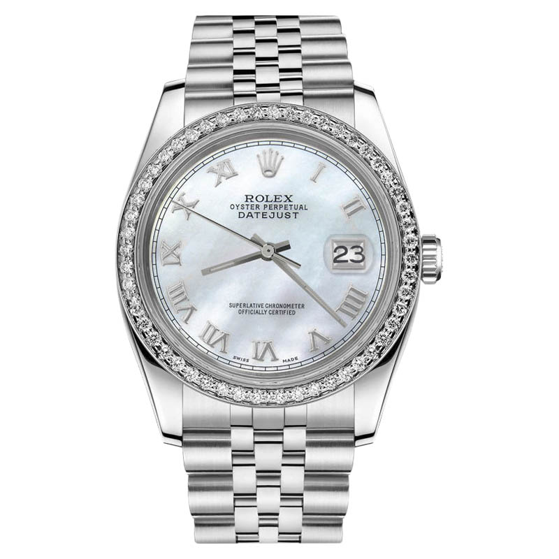 "Image of ""Rolex Datejust Stainless Steel White Mother Of Pearl Roman Numeral"""