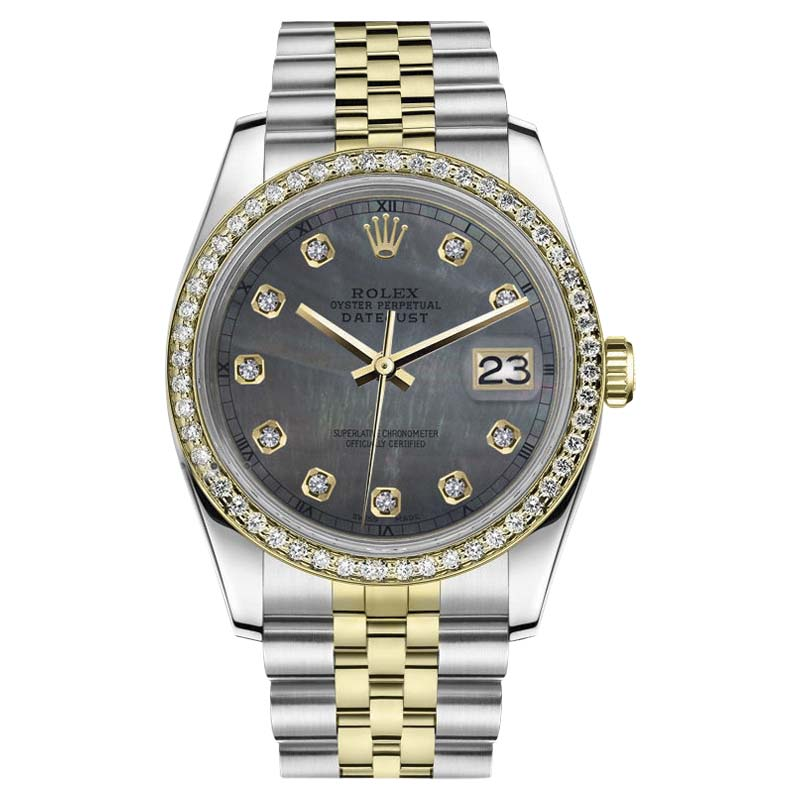 """Image of """"Rolex Datejust Stainless Steel/ 18K Gold Black MOP Mother Of Pearl w"""""""