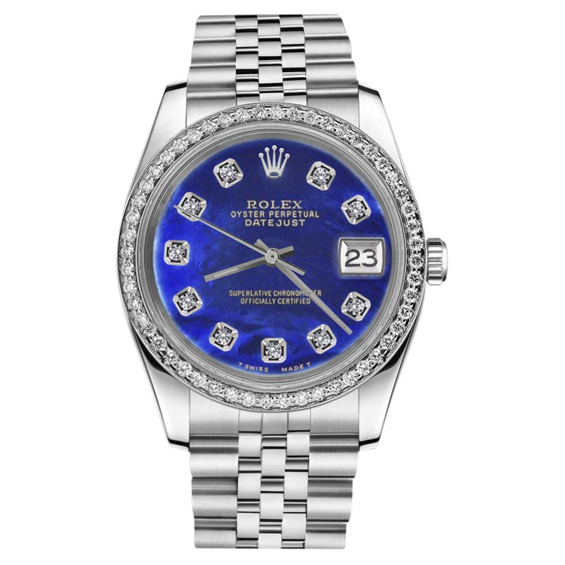 "Image of ""Rolex Stainless Steel Datejust Blue Mother Of Pearl Diamond 31mm"""