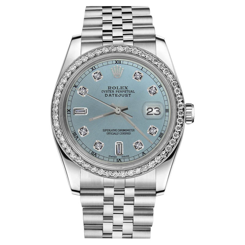 "Image of ""Rolex Datejust Stainless Steel Metallic Blue Diamond Dial 31mm Womens"""