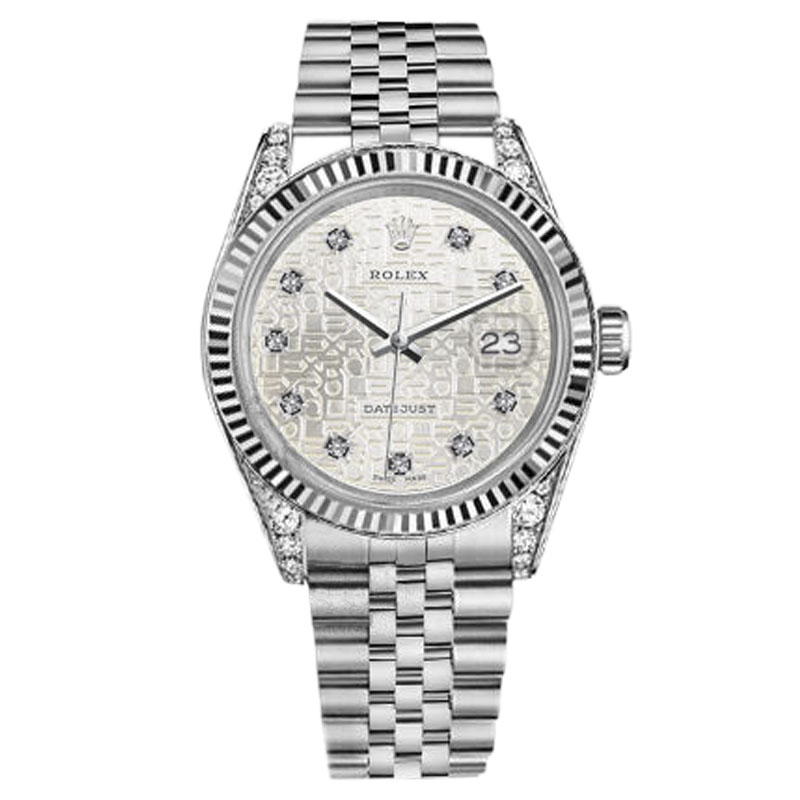 "Image of ""Rolex Datejust Stainless Steel With Silver Metal Plate Diamond Dial"""